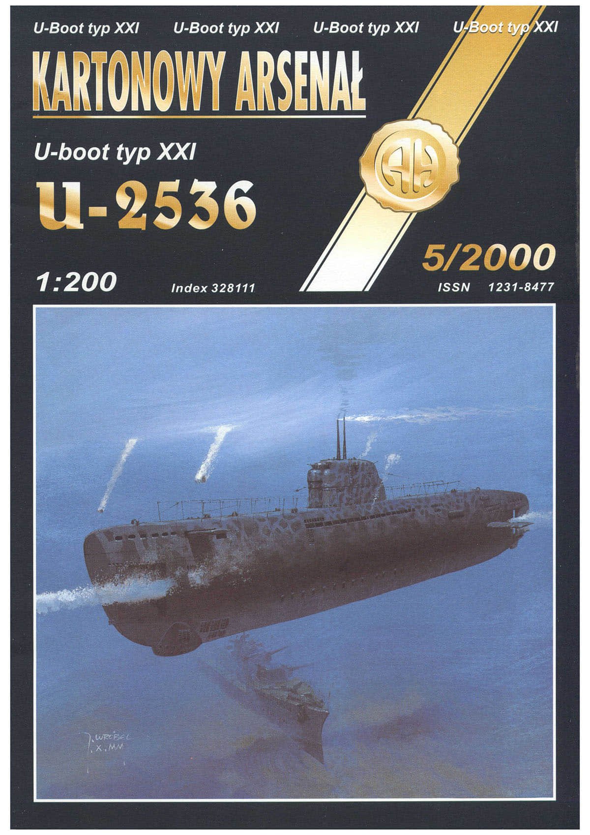 [Halinski 2000-5] U-boot type XXI U-2536 U型潜艇纸模型